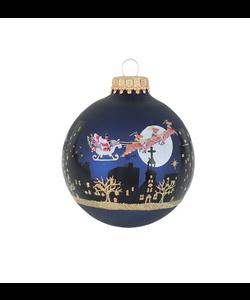 Kerstballen Donker Blauw met Kerstman in Arrenslee