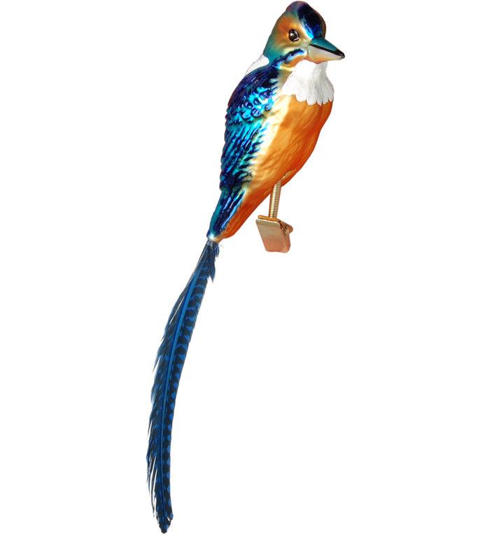 Glazen ijsvogel kerstboom decoratie blauw en oranje op klemmetje met blauw staart
