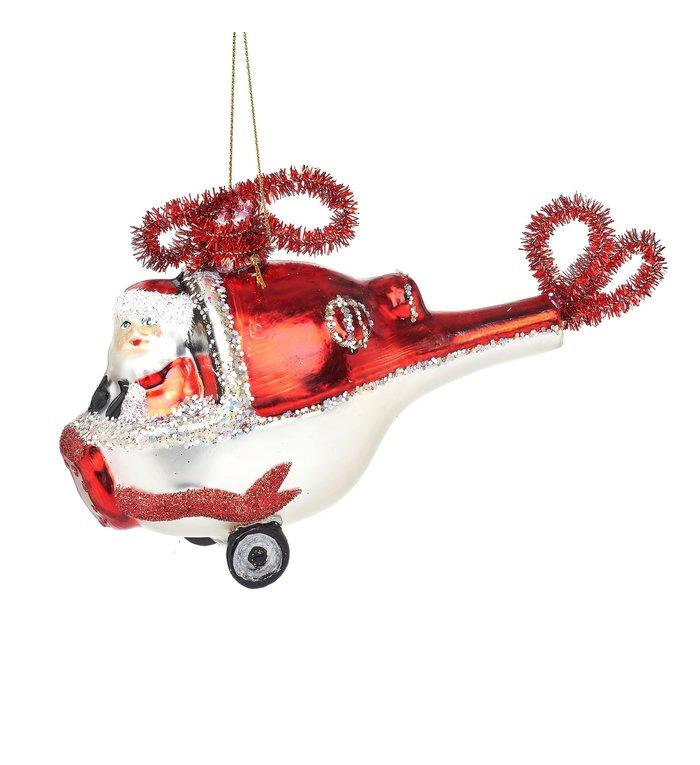 Sass & Belle Helikopter met Kerstman kerstboom decoratie