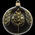 Glanzende kerstbal zwart met gouden blad decoratie 8 cm - set van 3