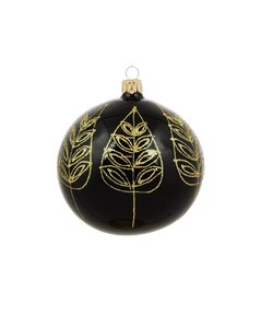 Zwarte Kerstballen met Gouden Blad Decoratie