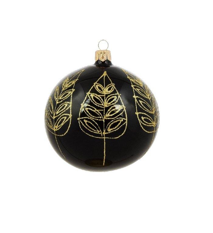 Set van 3 glanzende kerstballen zwart met gouden blad decoratie 8 cm