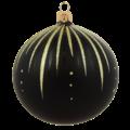 Set van 3 matte kerstballen zwart met gouden glitter streepjes decoratie 8 cm