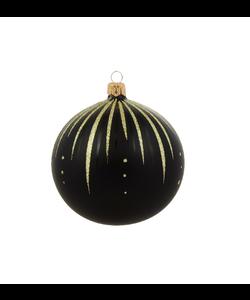 Zwarte Kerstballen met Gouden Glitter Streepjes