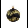 Kerstbal zwart glanzend met gouden glitter veren decoratie 8 cm - set van drie