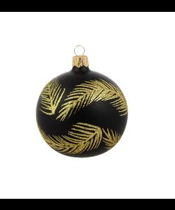 Zwarte Kerstballen met Gouden Glitter Veren