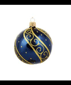 Blauwe Kerstballen met Luxe Gouden Decoratie