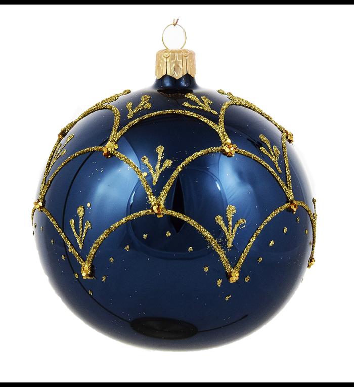 Set van 3 glanzende kerstballen blauw met chique gouden decoratie 8 cm