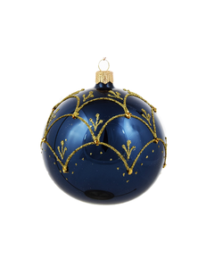 Blauwe Kerstballen met Chique Gouden Decoratie