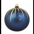 Set van 3 matte kerstballen blauw met gouden glitter streepjes decoratie 8 cm