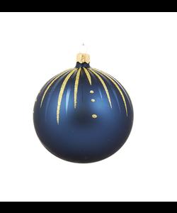 Blauwe Kerstballen met Gouden Glitter Streepjes