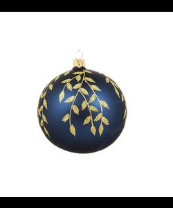 Blauwe Kerstballen met Gouden Kleine Blaadjes