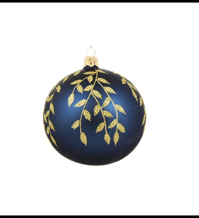 Set van 3 matte kerstballen blauw met gouden blaadjes decoratie 8 cm