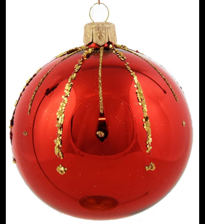 Set van 3 glanzende kerstballen rood met gouden glittersteentjes decoratie 8 cm