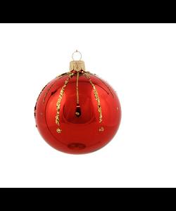 Rode Kerstballen met Gouden Glittersteentjes