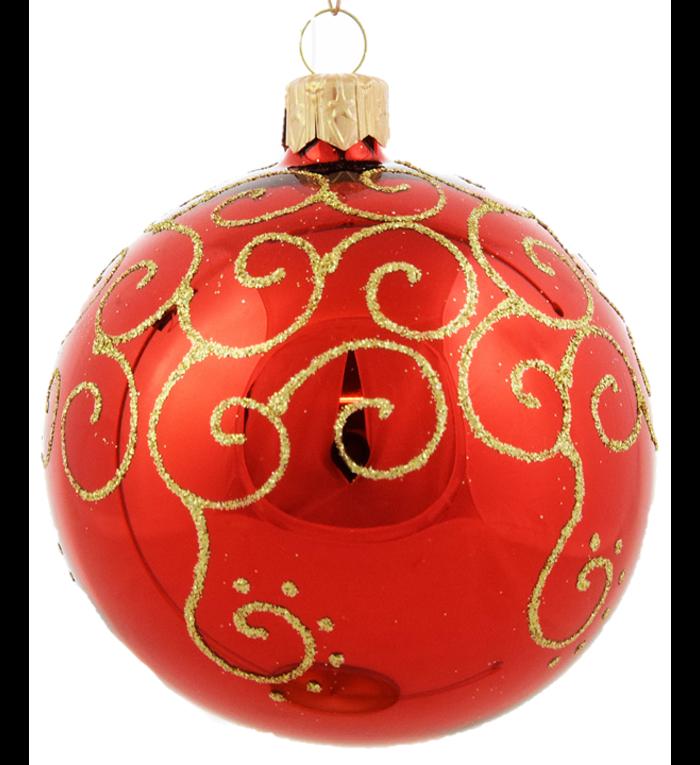 Set van 3 glanzende kerstballen rood met gouden krul decoratie 8 cm