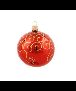 Rode Kerstballen met Gouden Kruldecoratie