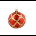 Set van 3 glanzende kerstballen rood met gouden glitter ruitennet decoratie 8 cm
