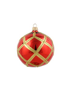 Rode Kerstballen met Gouden Ruitennet