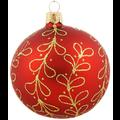 Set van 3 glanzende kerstballen rood met gouden glitter strikjes decoratie 8 cm