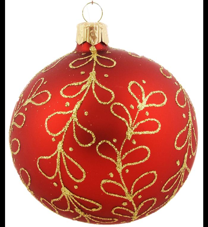 Set van 3 matte kerstballen rood met gouden glitter strikjes decoratie 8 cm