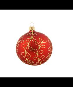 Rode Kerstballen met Gouden Glitter Strikjes decoratie