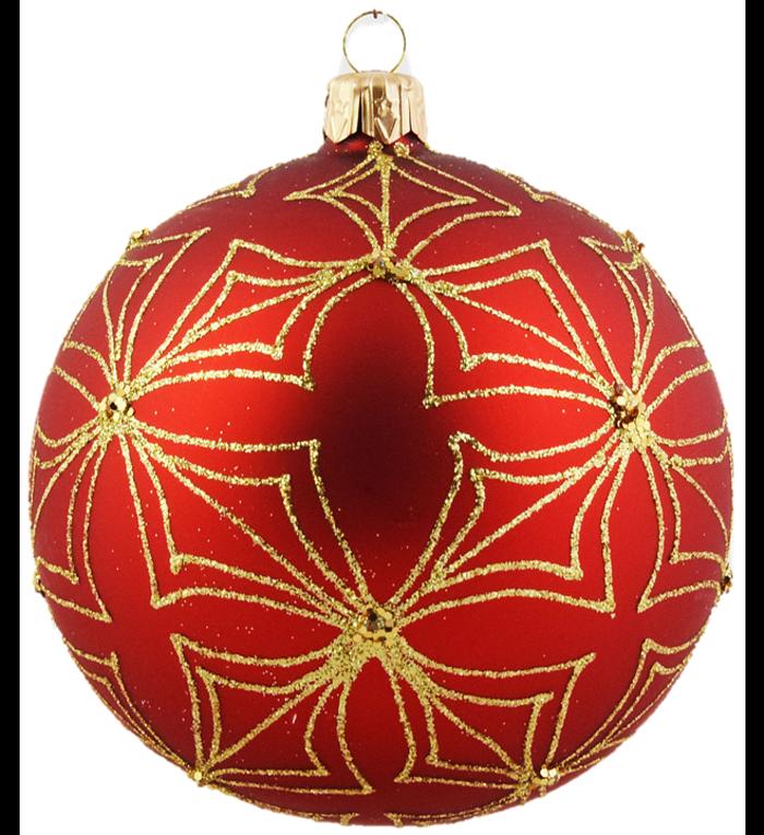 Set van 3 matte kerstballen rood met gouden glitter patroon 8 cm