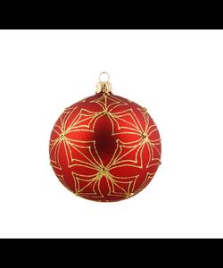 Rode Kerstballen met Gouden Glitter Patroon