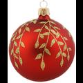 Set van 3 matte kerstballen rood met gouden blaadjes decoratie 8 cm