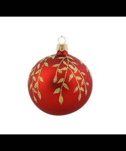 Rode Kerstballen met Gouden Kleine Blaadjes