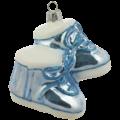 Blauwe babyschoentjes baby's eerste kerstmis kerstboomdecoratie van glas