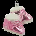 Roze babyschoentjes baby's eerste kerstmis kerstboomdecoratie van glas