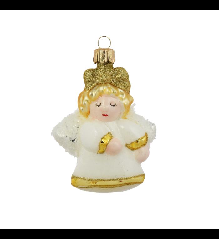 Wit en goud engeltje kerstboomdecoratie van glas