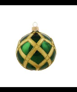 Groene Kerstballen met Gouden Ruitennet