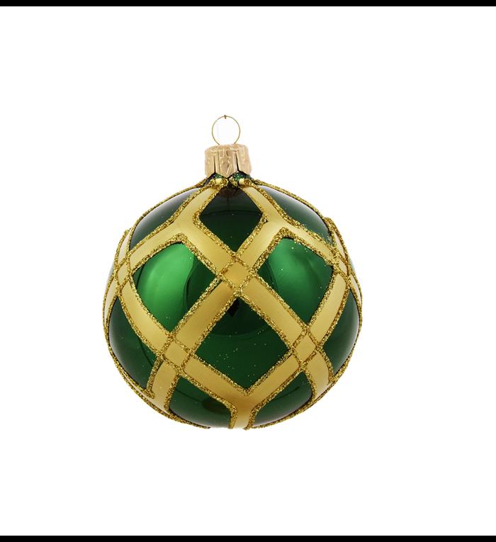 Set van 3 glanzende kerstballen groen met gouden glitter ruitennet decoratie 8 cm