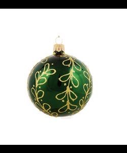 Groene Kerstballen met Gouden Glitter Strikjes decoratie