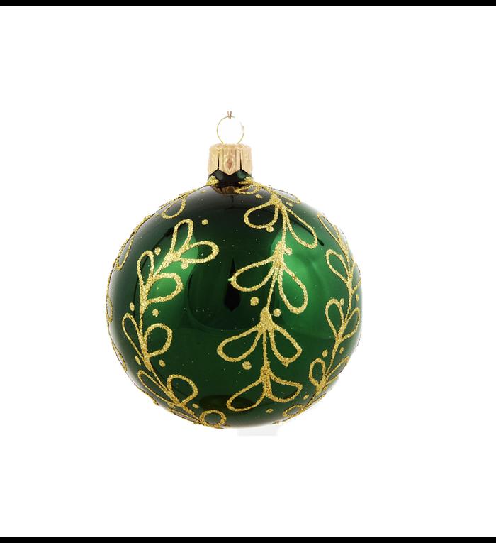 Set van 3 glanzende kerstballen groen met gouden glitter strikjes decoratie 8 cm
