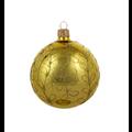 Set van 3 glanzende kerstballen goud met gouden glitter strikjes decoratie 8 cm
