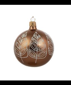 Bruine Kerstballen met Witte Bladeren Decoratie