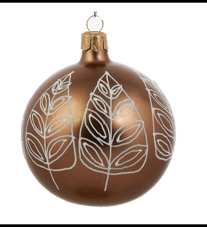 Set van 3 kerstballen bruin met witte bladeren decoratie 8 cm