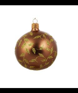 Bruine Kerstballen met Gouden Blaadjes