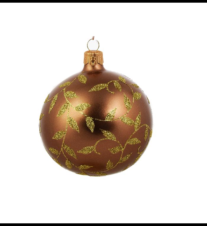 Set van 3 matte kerstballen bruin met gouden blaadjes decoratie 8 cm