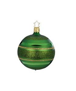 Kerstbal Spar Groen met Glitterlijnen