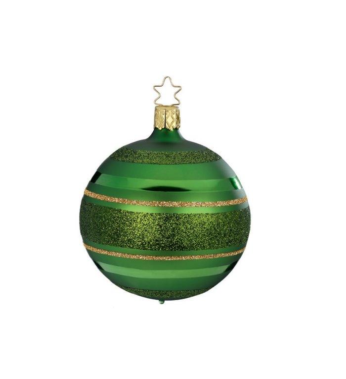 Spar groene kerstbal met gouden en groene glitterlijnen 8 cm