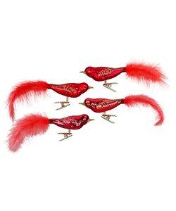 Kerstboomdecoratie Vogeltjes Rood