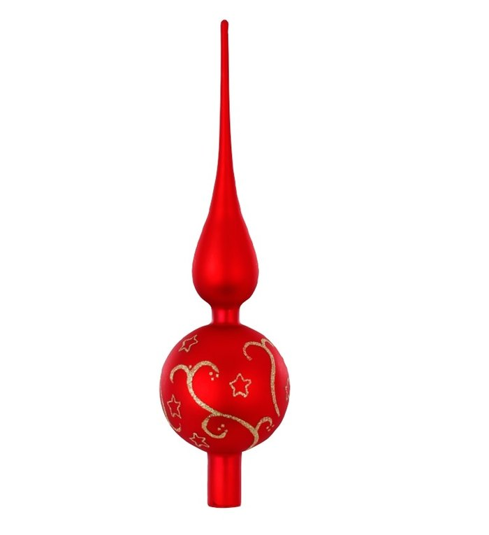 Piek voor de kerstboom mat rood, met gouden decoratie en glitter sterren 32 cm hoog