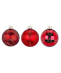 Robijn Rode Deluxe Kerstballen - set van 3