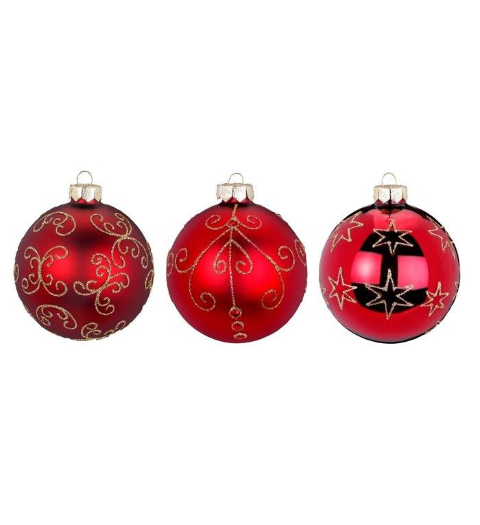 Set van 3 - Glazen kerstballen robijn rood deluxe 8 cm
