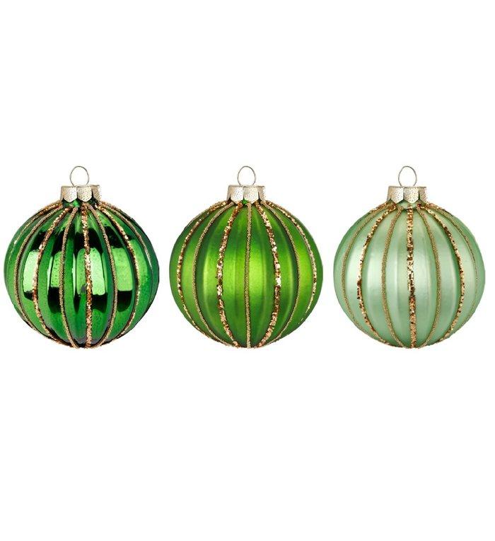 Set van 3 - Glazen kerstballen in verschillende groene kleuren 8 cm