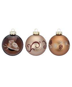 Kerstballen Elegant Bruin - Set van 3